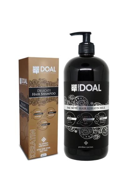 DOAL - Doal Delicate Keratin Şampuanı 200 ml + Keratin Bakım Sütü 1000 ml