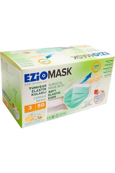 Ezio - Ezio 3 Katlı Yeni Nesil Yumuşak Elastik Lastikli Yeşil Ağız Maskesi 50 Adet