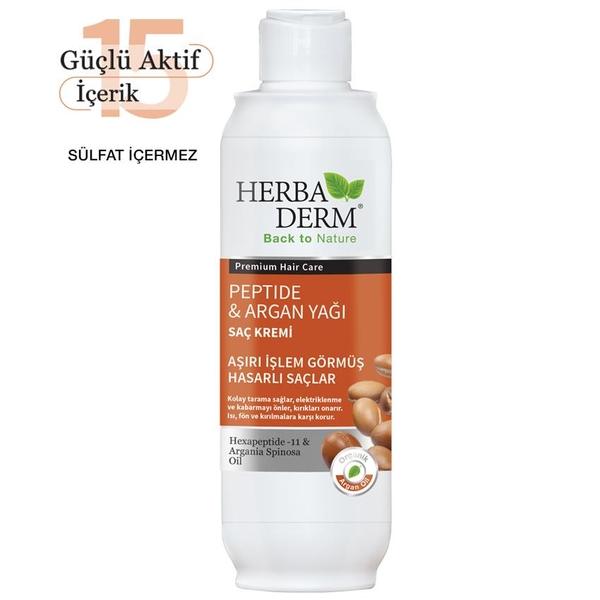 Herbaderm - Herbaderm Peptide & Argan Yağı Saç Kremi 330ml