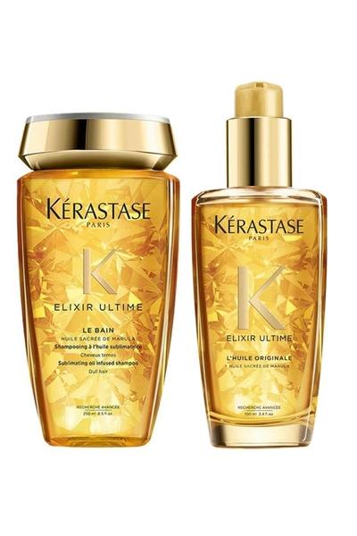 Kerastase - Kerastase Elixir Ultime Le Bain Mat Saçlar için Parlaklık Şampuan 250ml+Parlaklık Yağı 100ml