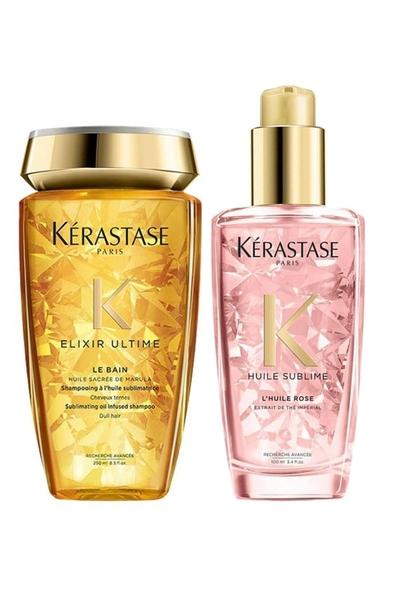Kerastase - Kerastase Elixir Ultime Le Bain Şampuan 250ml+Boyalı Saç Parlaklık Yağı 100ml