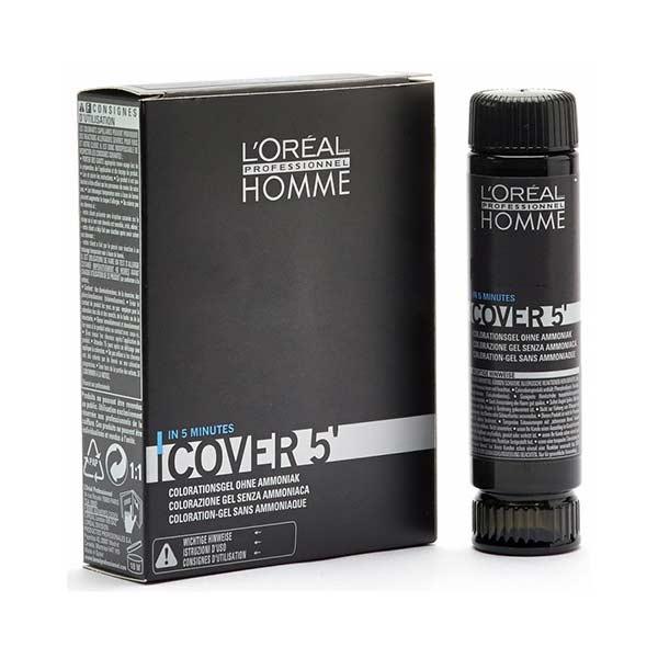Loreal - Loreal Homme Cover 5 Erkekler İçin Renklendirici Jel 3X50ml Kestane 4