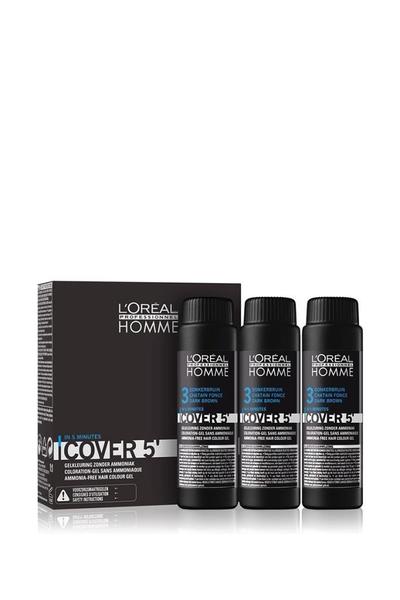 Loreal - Loreal Homme Cover 5 Erkekler İçin Renklendirici Jel 3 Koyu Kahve 3 x 50 ml