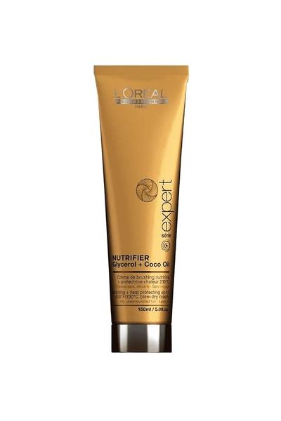 Loreal - Loreal Nutrifier Kuru Mat Saçlar İçin Besleyici Nemlendirici Isı Koruyucu Durulanmayan Fön Kremi 150 ml