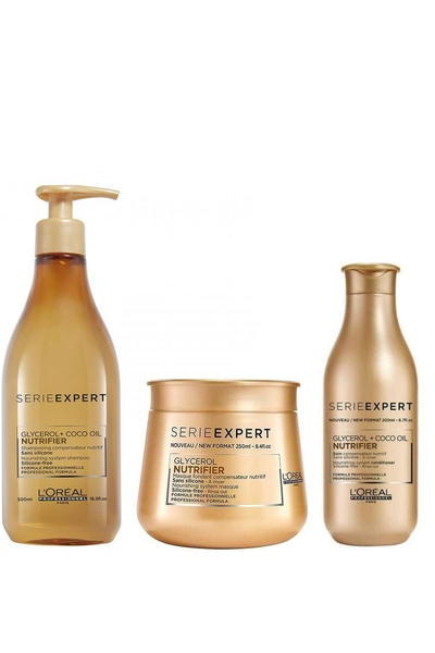 Loreal - Loreal Nutrifier Kuru Mat Saçlar İçin Şampuan 500ml+Maske 250ml+ Krem 200ml