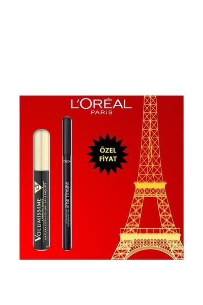 Loreal - Loreal Paris Volumissime X5 Maskara + Infaillible Gel Crayon Göz Kalemi Seti