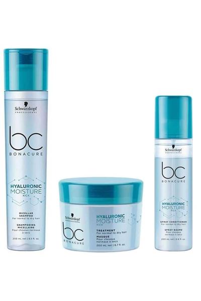 Schwarzkopf - Schwarzkopf BC Hyaluronic Nem Yükleme Şampuanı 250ml+Maske 200ml+Sprey Krem 200ml